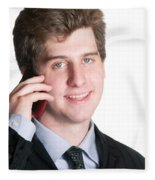Young Business Man On The Cell Phone Fleece Blanket