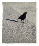 Young Cawing Crow Fleece Blanket