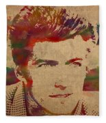 Young Clint Eastwood Actor Watercolor Portrait On Worn Parchment Fleece Blanket