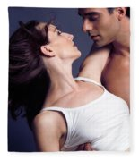 Young Couple About To Kiss Fleece Blanket
