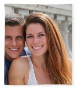 Young Couple Bridge Fleece Blanket