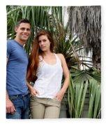 Young Couple Palm Tree Fleece Blanket