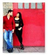 Young Couple Red Doors Fleece Blanket