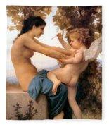 Young Girl Defending Herself Against Cupid Fleece Blanket