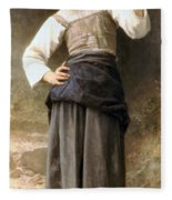 Young Girl Going To The Fountain Fleece Blanket