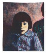 Young Girl In Blue Sweater Fleece Blanket