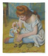 Young Girl Playing With A Doll Fleece Blanket