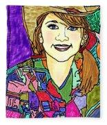 Young Girl With Cowboy Hat Fleece Blanket