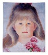 Young Girl With Roses Fleece Blanket