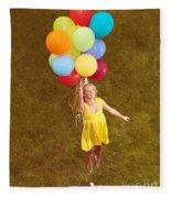 Young Happy Woman Flying On Colorful Helium Balloons Fleece Blanket