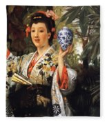 Young Japanese Lady Fleece Blanket