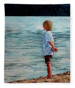 Young Lad By The Shore Fleece Blanket