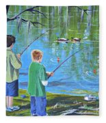 Young Lads Fishing Fleece Blanket