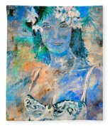 young lady in Papeete Fleece Blanket