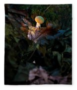 Young Lonely Mushroom Fleece Blanket