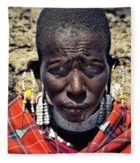 Portrait Of Young Maasai Woman At Ngorongoro Conservation Tanzania Fleece Blanket