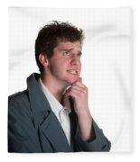 Young Man In Trench Coat Fleece Blanket