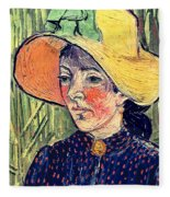 Young Peasant Girl In A Straw Hat Sitting In Front Of A Wheatfield Fleece Blanket