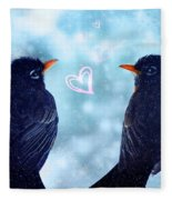 Young Robins In Love Fleece Blanket