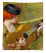 Young Spanish Woman With A Guitar Fleece Blanket