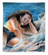 Young Tahitian Mermaid Fleece Blanket