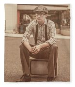 Young Vintage Man Seated On Old Tv Fleece Blanket