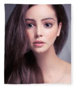 Young Woman Anime Style Beauty Portrait With Beautiful Large Gra Fleece Blanket