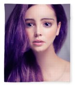 Young Woman Anime Style Beauty Portrait With Large Eyes And Purp Fleece Blanket