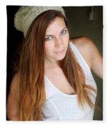 Young Woman Hallway Fleece Blanket