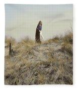 Young Woman In Cloak On A Hill Fleece Blanket