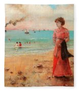 Young Woman With Red Umbrella Fleece Blanket