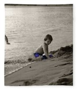 Youth At The Beach Fleece Blanket