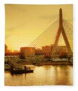 Zakim Bridge Sunset Fleece Blanket