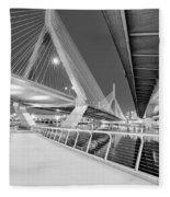 Zakim Bridge Twilight In Boston Bw Fleece Blanket