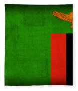 Zambia Flag Distressed Vintage Finish Fleece Blanket