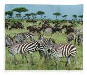 Zebra And Wildebeest Grazing Masai Mara Fleece Blanket