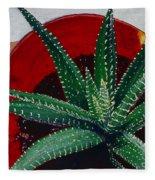 Zebra Cactus In Red Glass Fleece Blanket