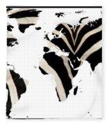 Zebra Fur World Map Fleece Blanket