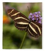 Zebra Longwing Butterfly Fleece Blanket
