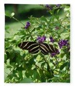 Zebra Longwing Butterfly On Flower Fleece Blanket