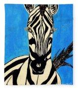 Zebra Portrait 5 Fleece Blanket