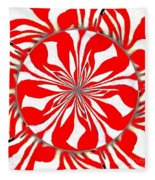 Zebra Red Swirling Kaleidoscope  Fleece Blanket