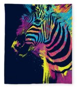Zebra Splatters Fleece Blanket