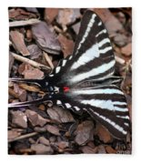 Zebra Swallowtail Butterfly Square Fleece Blanket
