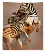 Zebras Fighting Fleece Blanket