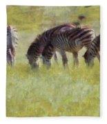Zebras In Africa Fleece Blanket