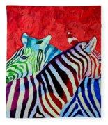 Zebras In Love  Fleece Blanket