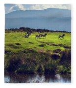 Zebras On Green Grassy Hill. Ngorongoro. Tanzania Fleece Blanket