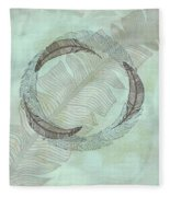 Zen Feather Circle I I Fleece Blanket