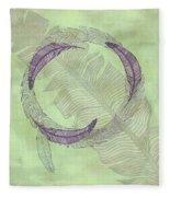 Zen Feather Circle I V Fleece Blanket